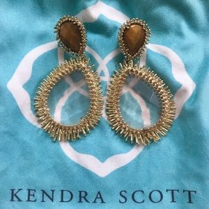 RARE Kendra Scott Gold TigersEye Statement Earring